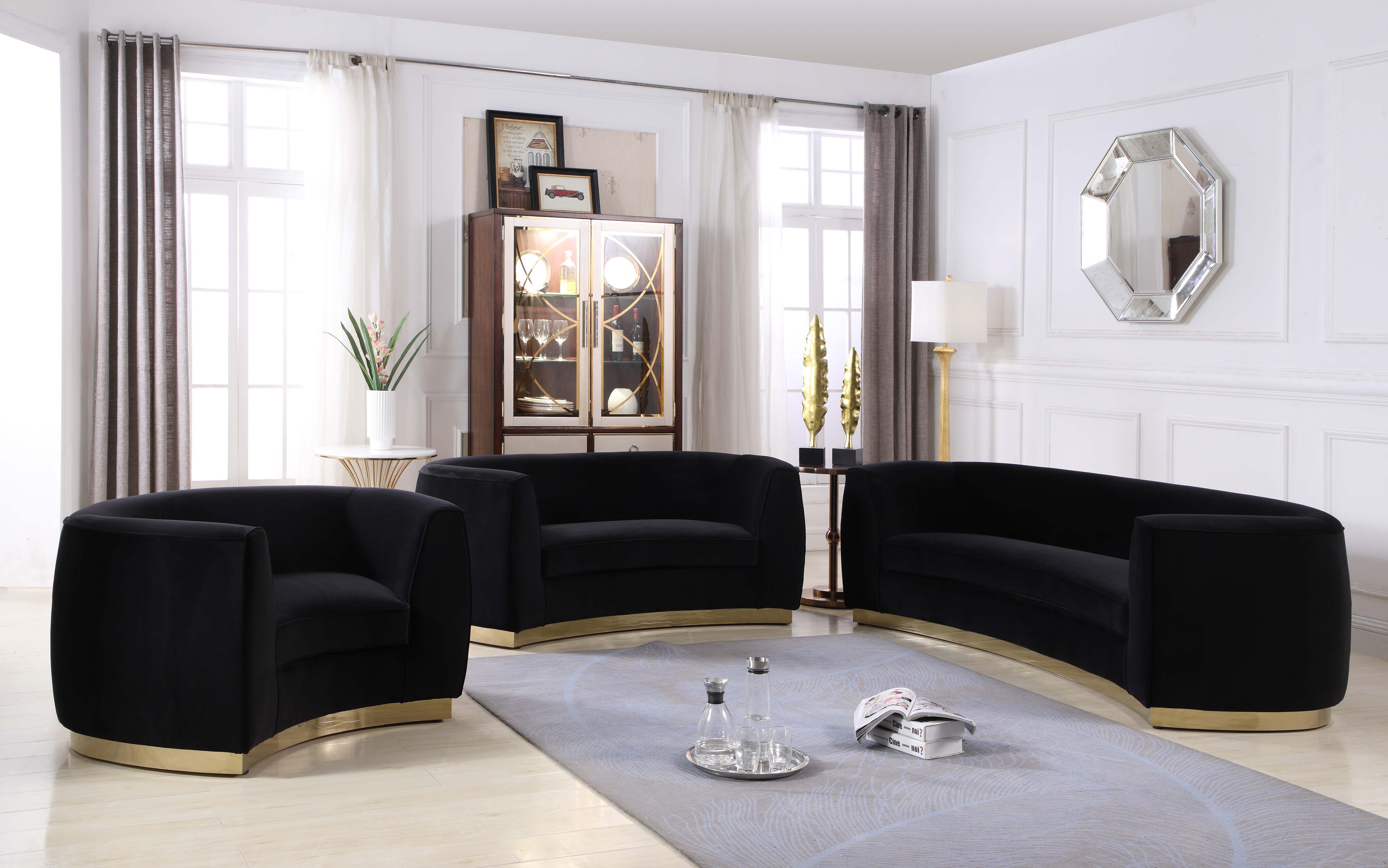 Meridian Furniture Julian 620 Black Velvet Sofa Loveseat Chair Set 3pcs Modern 620black Set 3