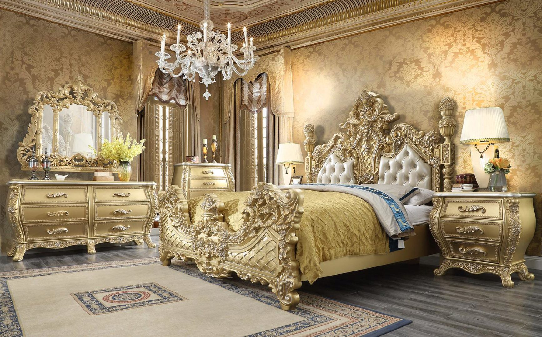 Antique Gold Leather Cal King Bedroom Set 3pcs Traditional Homey Design Hd 1801 Hd 1801 Ck Set 3