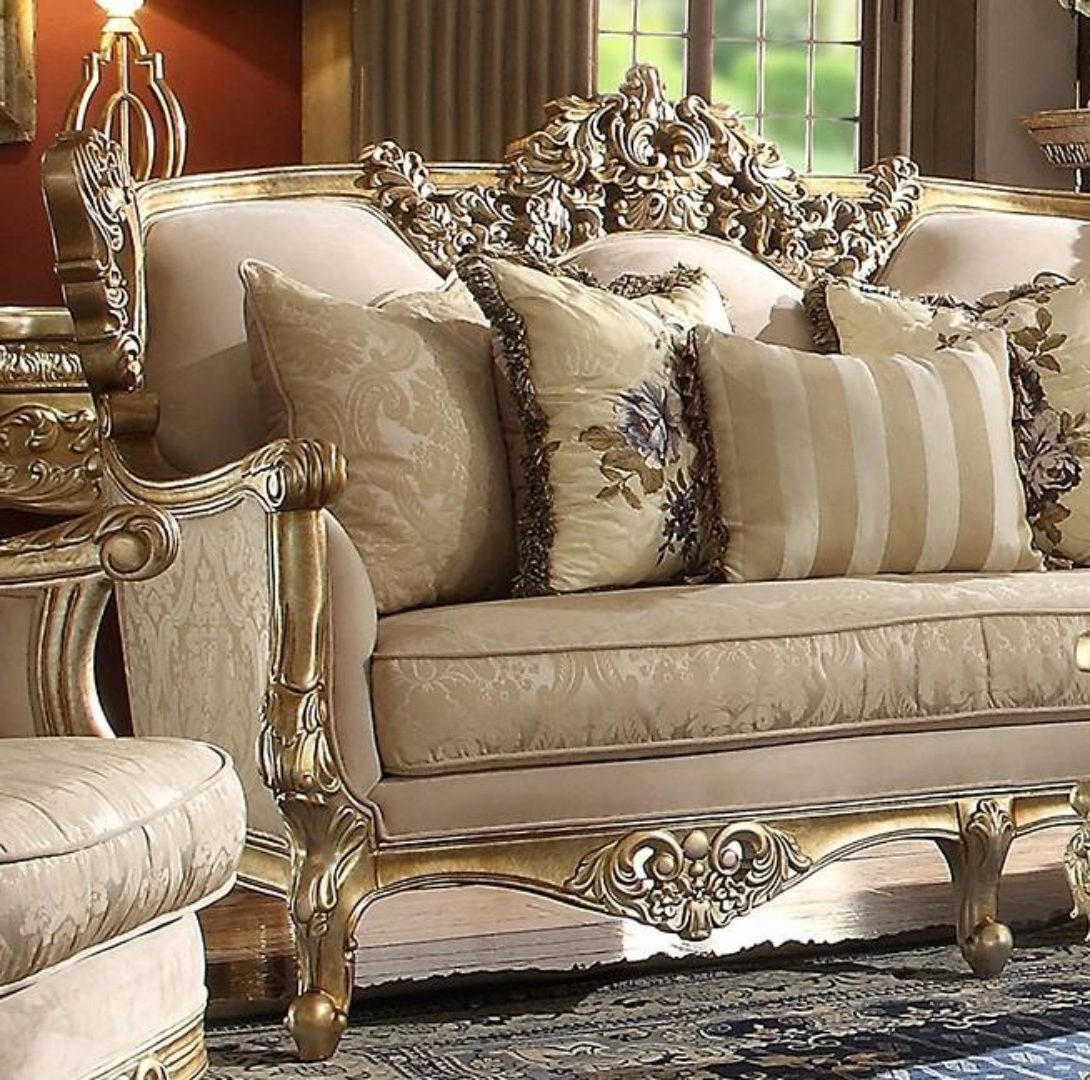Metallic Bright Gold Finish Sofa Traditional Homey Design ...