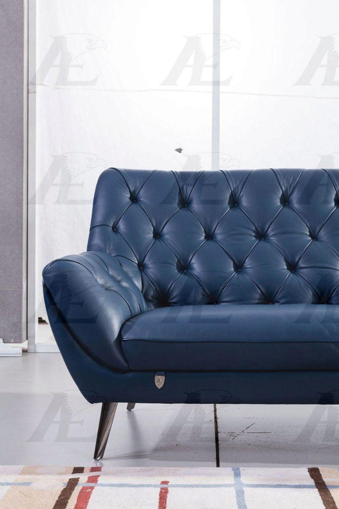 Modern Navy Blue Italian Leather Sofa Set 3pcs American Eagle Ek8003 Nb Ek8003 Nb Set 3