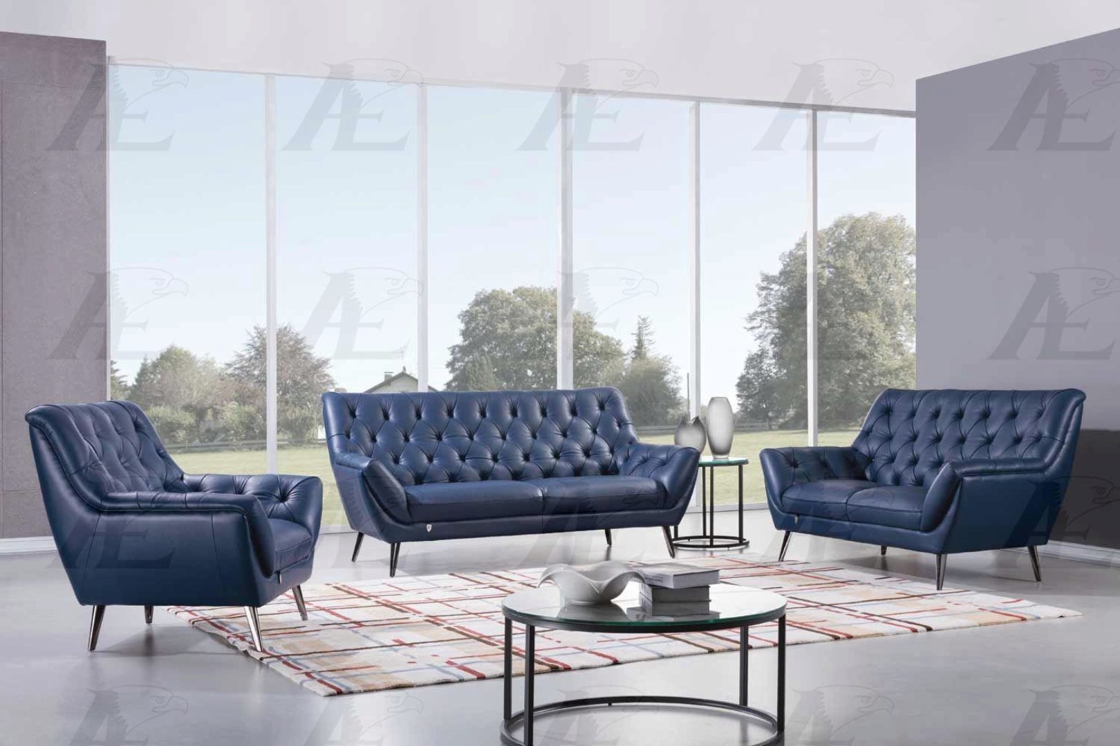 Modern Navy Blue Italian Leather Sofa Set 3pcs American Eagle Ek8003 Nb Ek8003 Nb Set 3