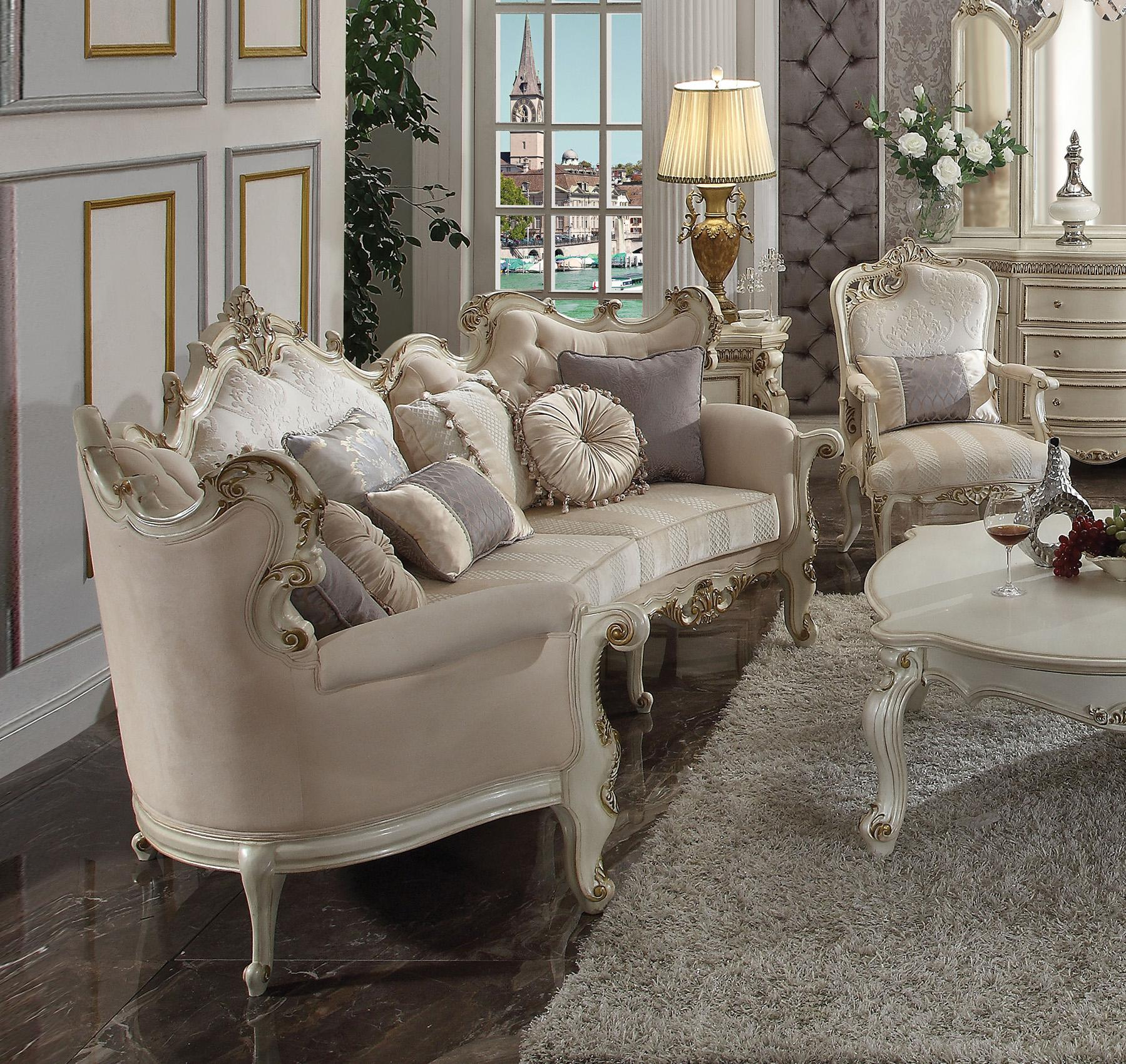 Oversized Sofa Set 2pc Fabric Antique Pearl Picardy Ii 56880 Acme Traditional 56880 Set 2 Picardy Ii