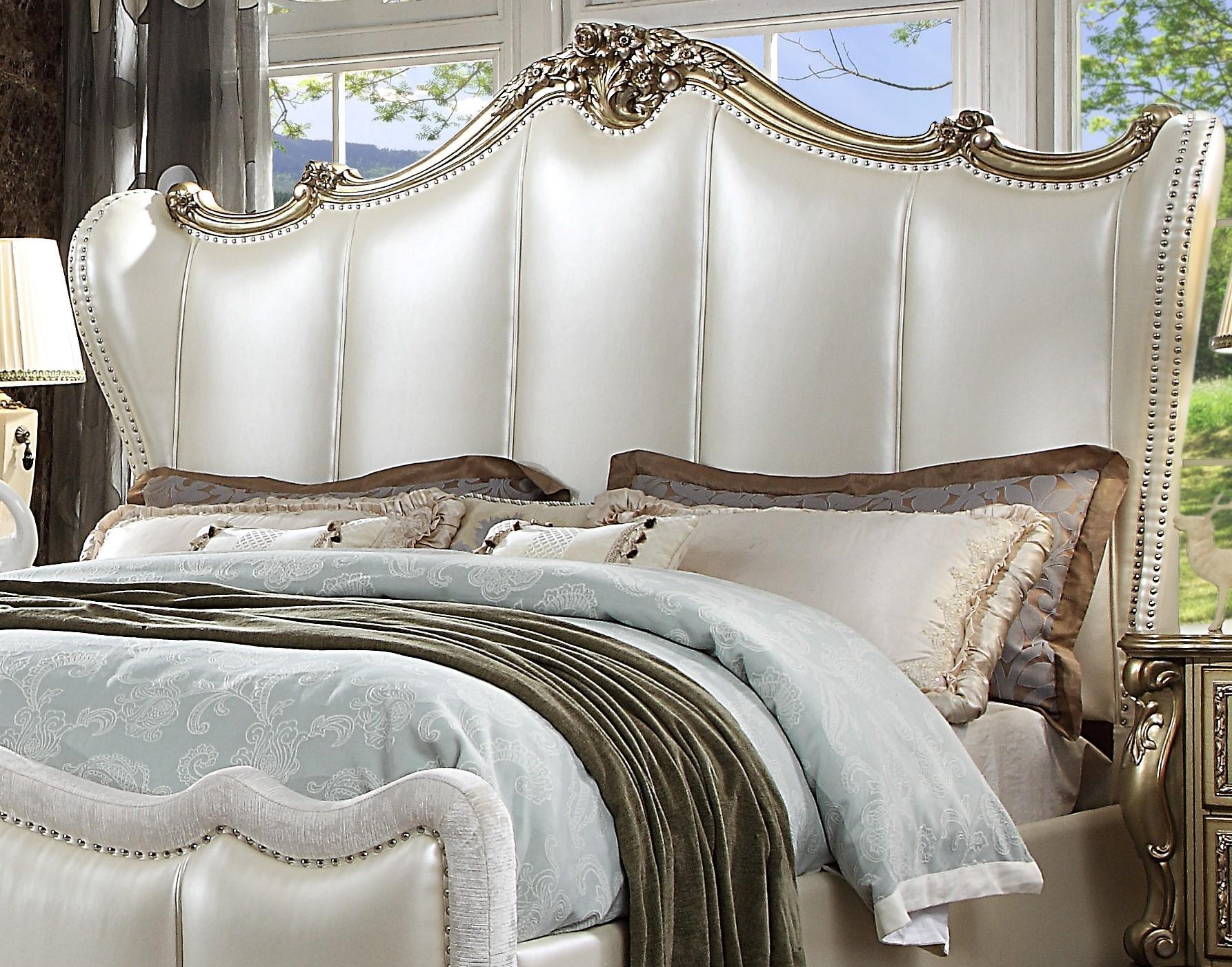 pearl white  gold patina queen bedroom set 5 dresden ii