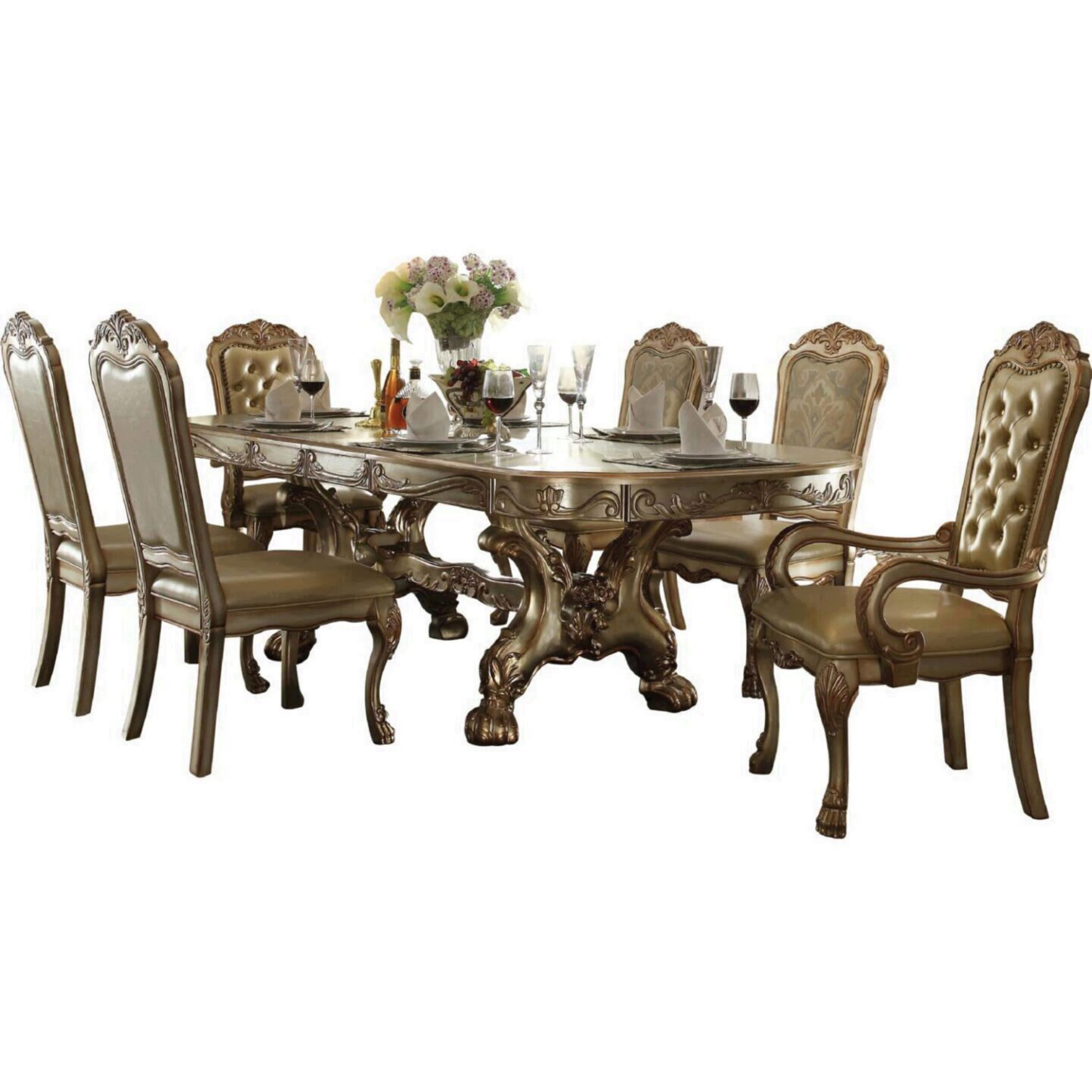 Gold Patina Bone Carved Wood Pendarvis Extendable Dining Table Set 7 Traditional Pendarvis Dt Set 7