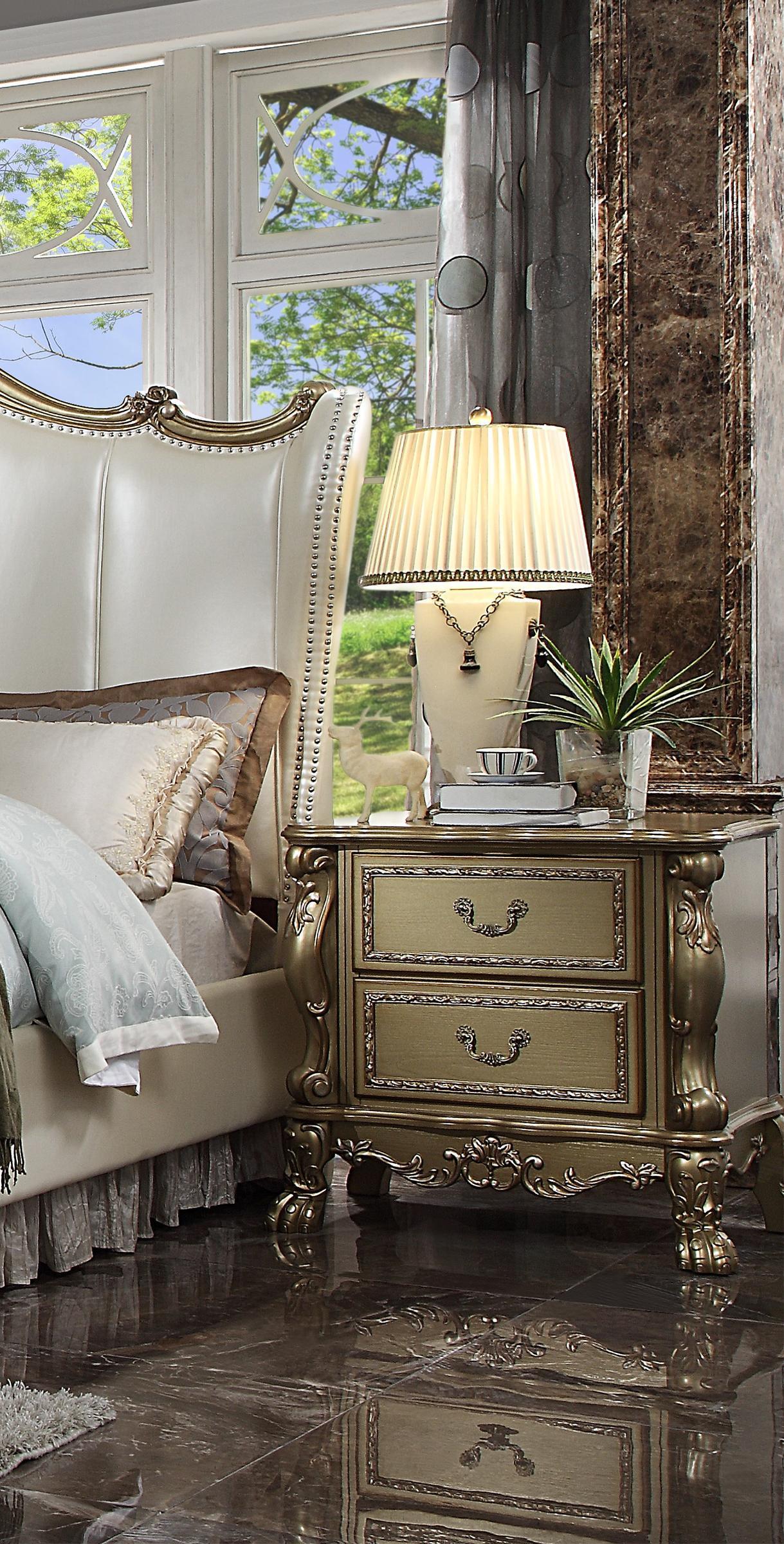 luxury bone pu gold patina perales king bedroom set 4p