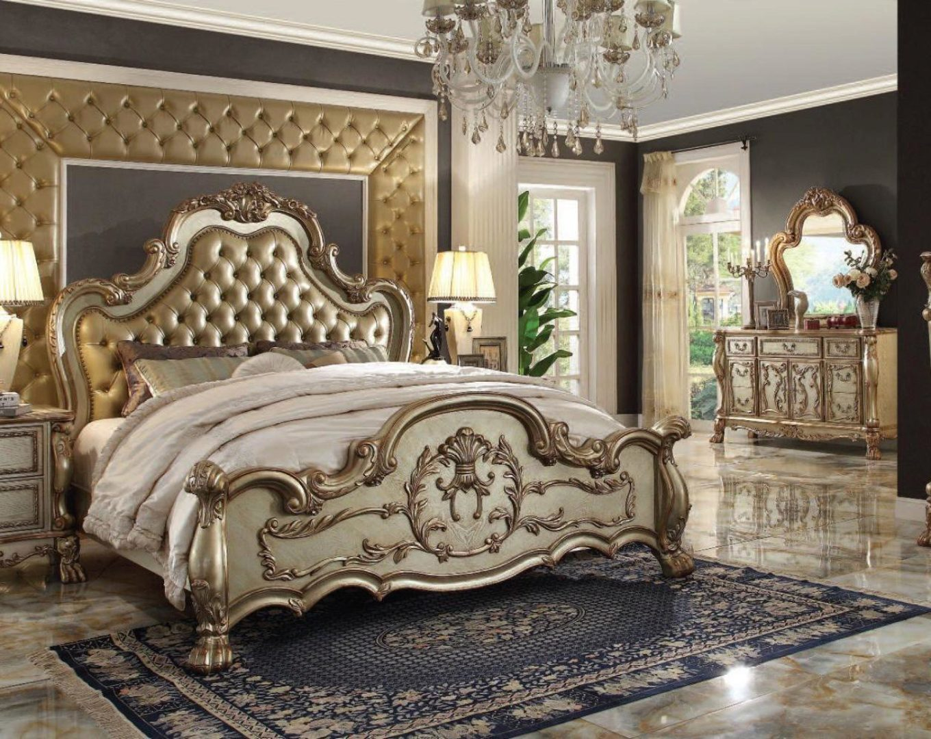 Luxury Bone Pu Gold Patina Perales Queen Bedroom Set 5p Traditional Carved Wood Perales Q Set 5
