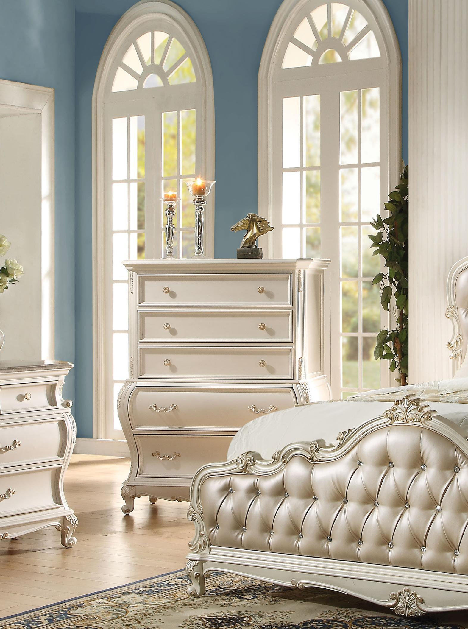 Rory Queen Upholstered Standard Bedroom Set 5 Rose Gold Pearl White Classic Sku Ahst4697