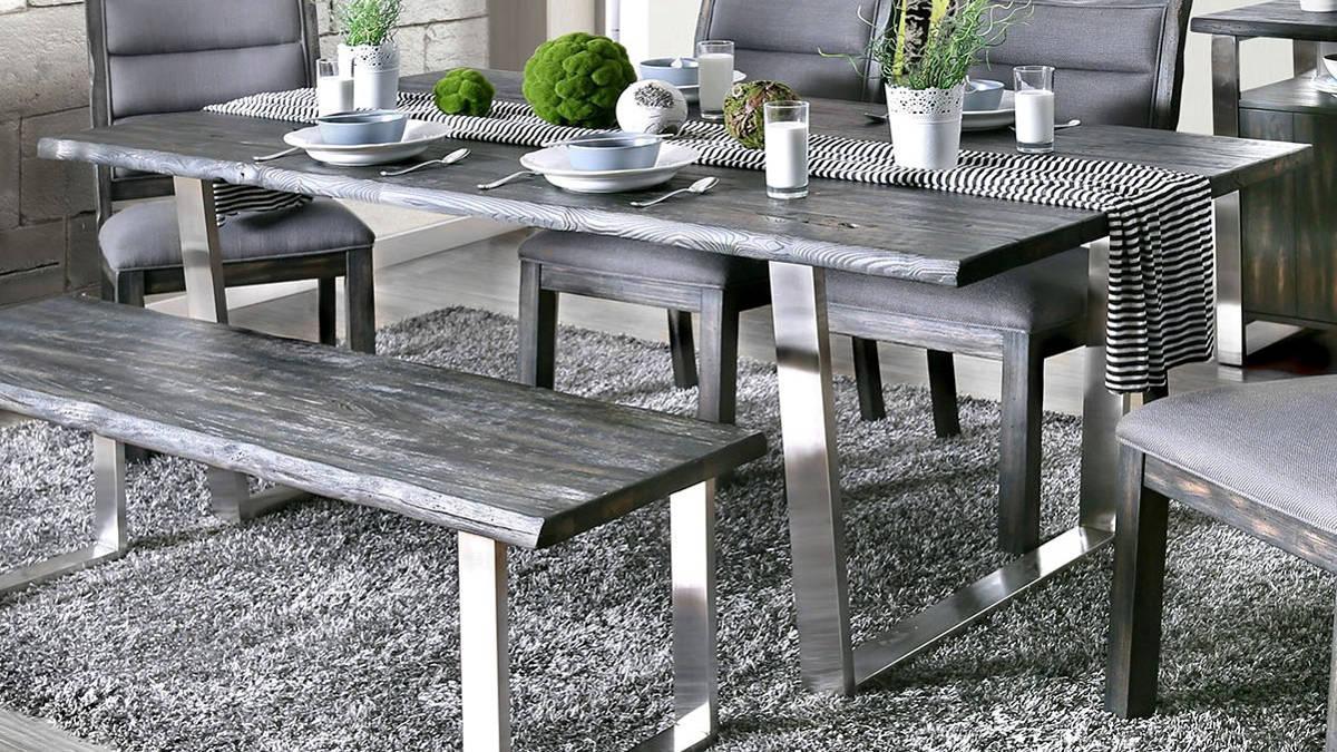 rustic gray finish oak dining table set 6pcs wbench mandy