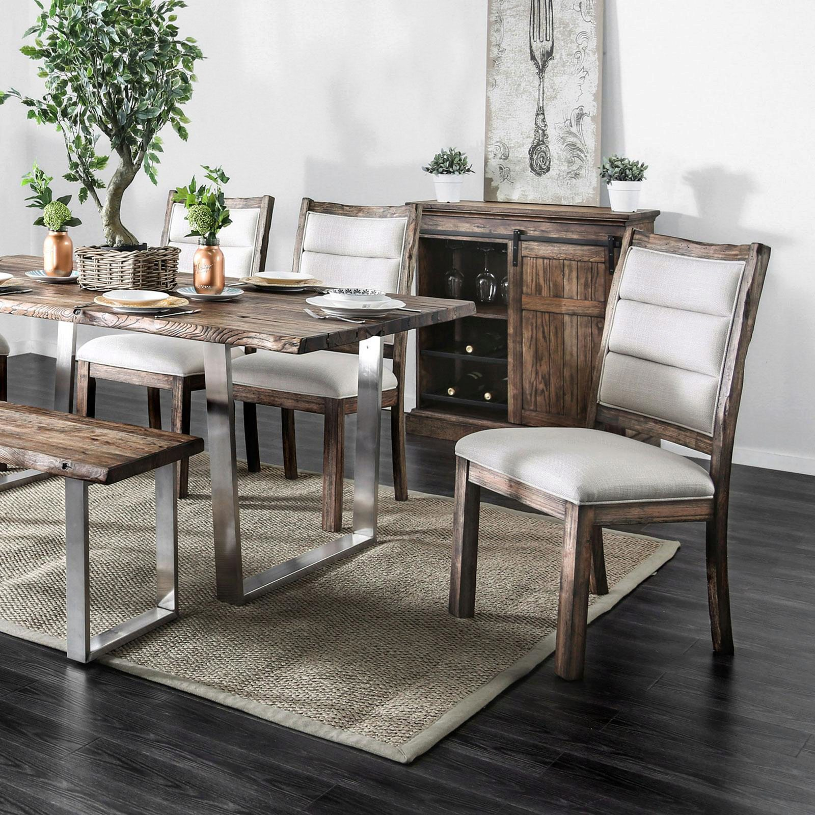 Rustic Style Oak Finish Dining Table Mandy By Furniture Of America Cm3451a T Table