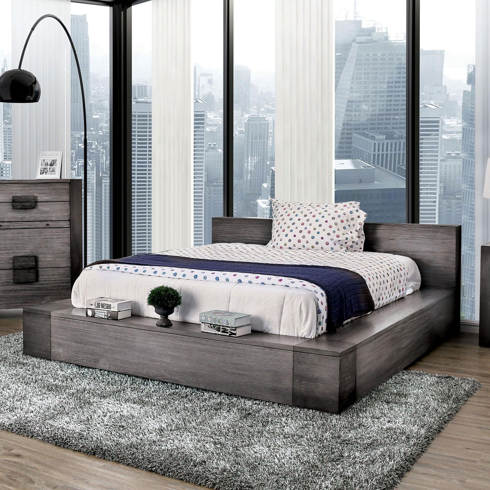 Rustic Gray Finish Queen Bedroom Set 5 W Chest Janeiro Furniture Of America Cm7628gyq 5pc Chest