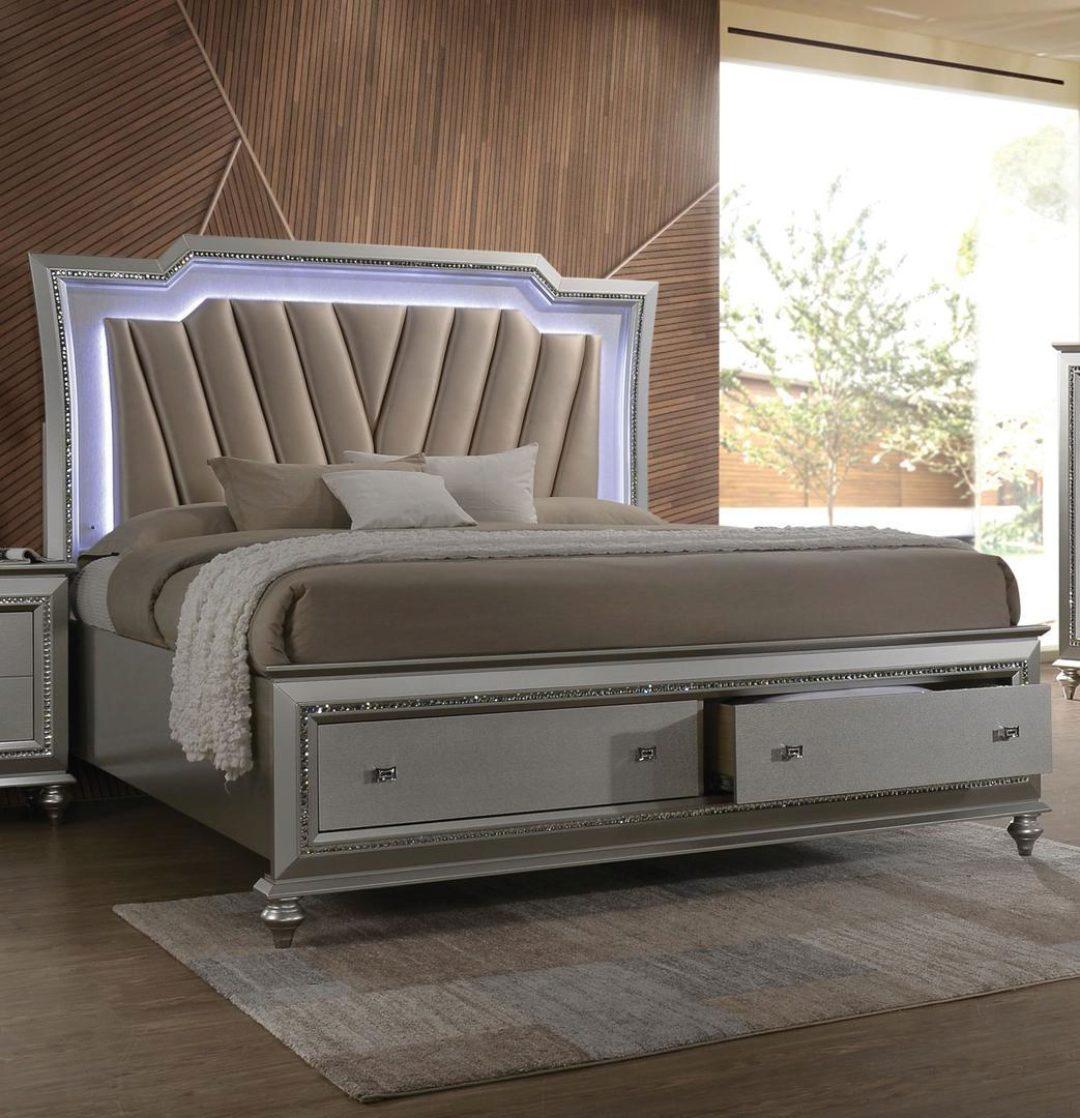 Champagne Fabric Tufted Samana Storage Platform Bed Queen W Led Lighting Modern Samana Q Bed