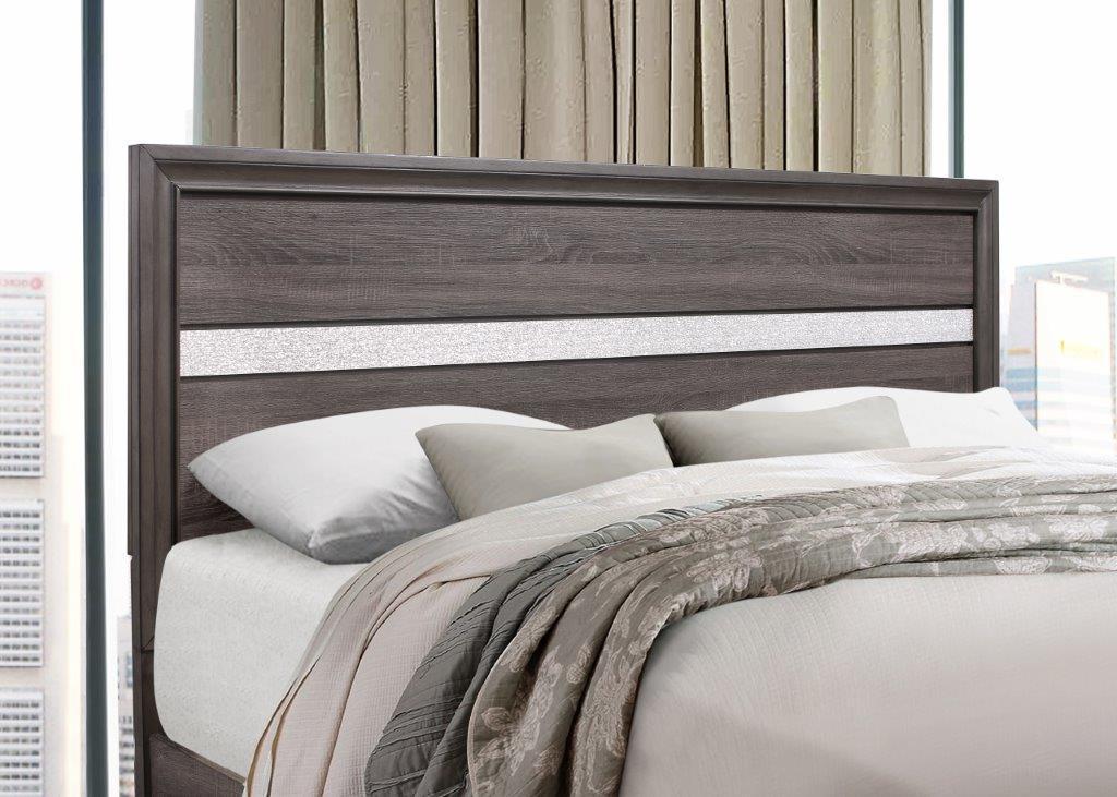 Seville Storage King Bedroom Set 4pcs Weathered Grey Global Furniture Modern Seville Kb Set 4
