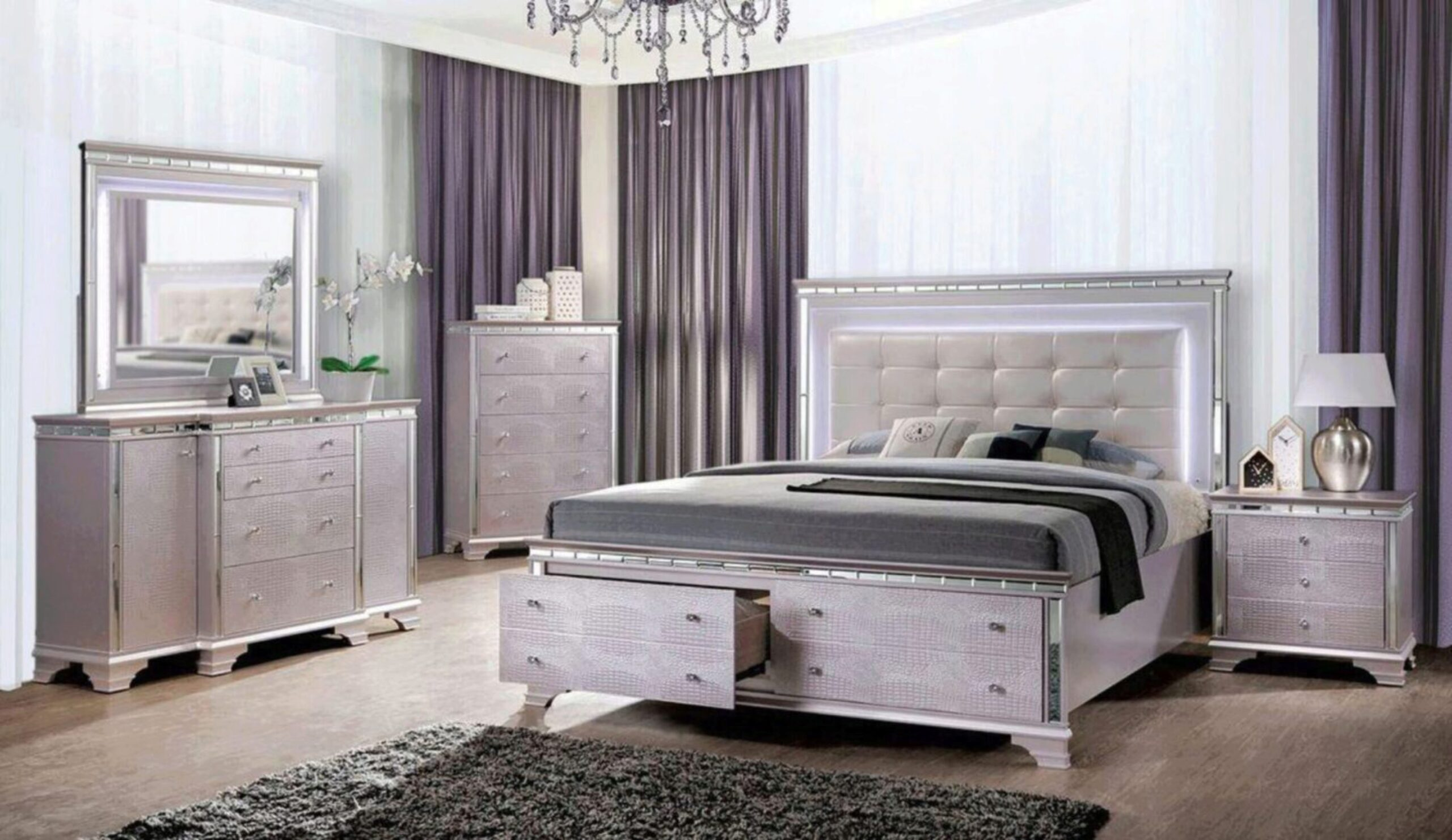 Silver Queen Storage Bedroom Set 5p W Chest Claudette By Furniture Of America Cm7972q 5pc Chest