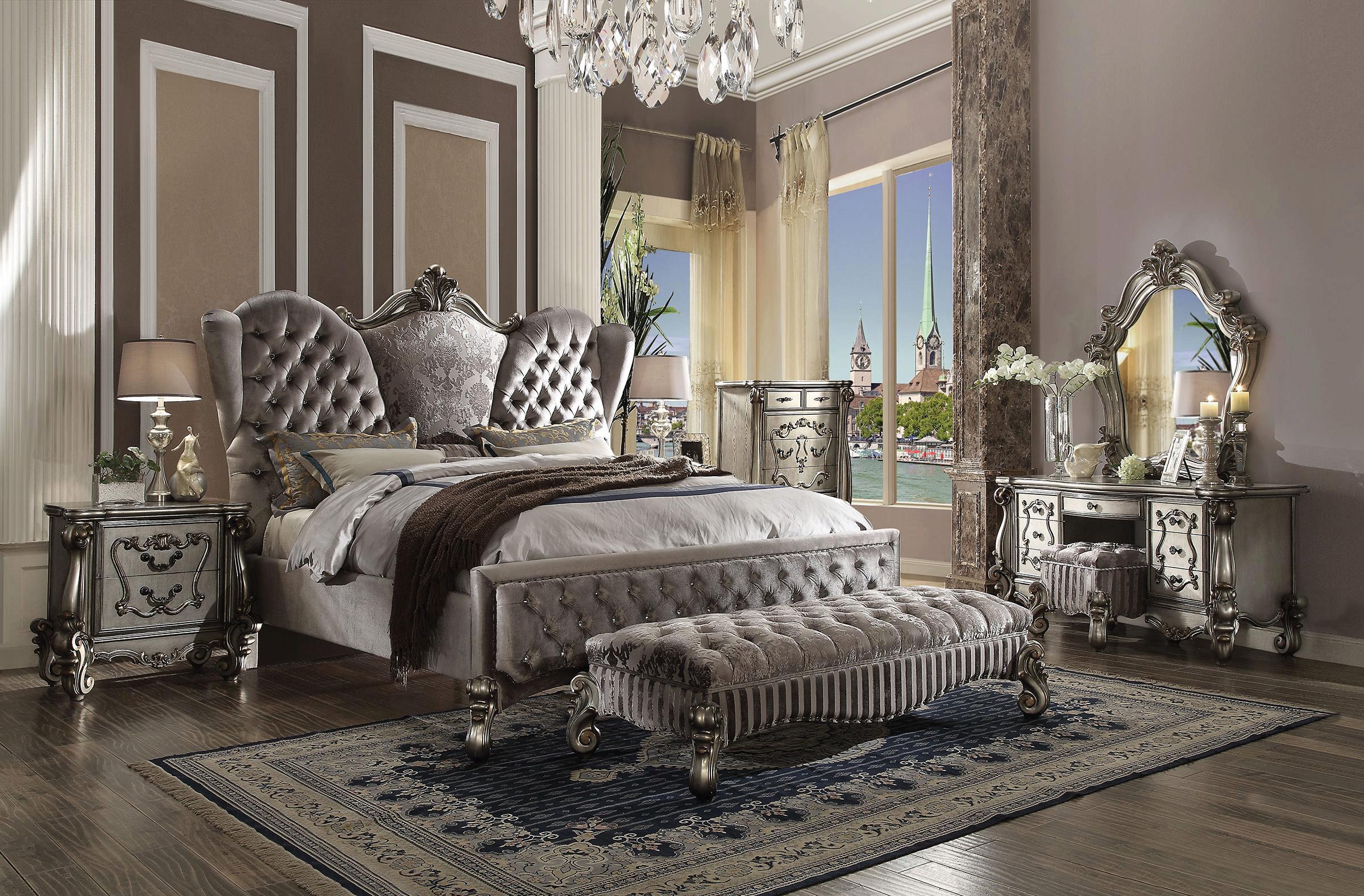Silver Velvet/Antique Platinum King Bedroom Set 5Pcs ...