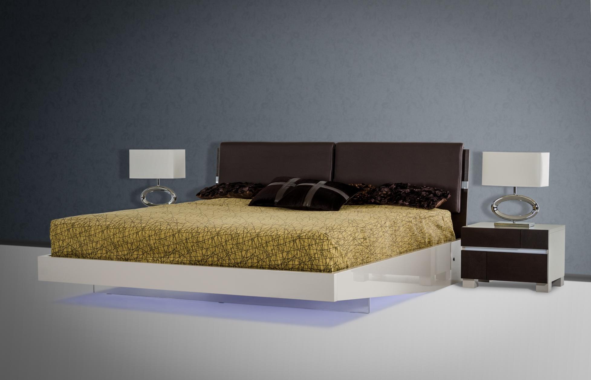 Soflex Birmingham Modern Brown Oak Eco Leather Headboard Floating Eastern King Bed With Led Lights Soflex Birmingham Ek