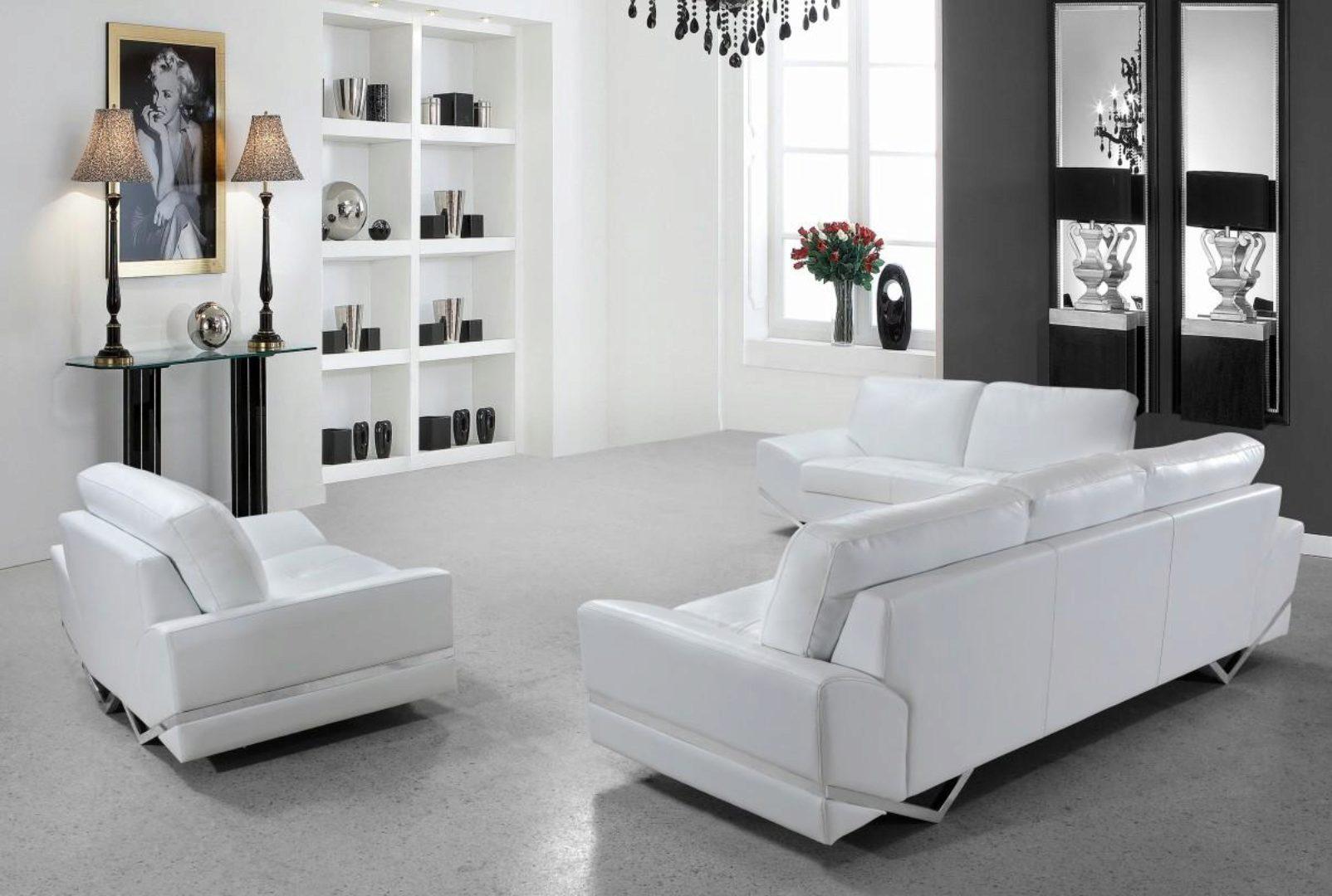 Soflex San Francisco Modern White Leather Sofa Living Room Set 3pcs Contemporary Soflex San Francisco Sofa Set 3