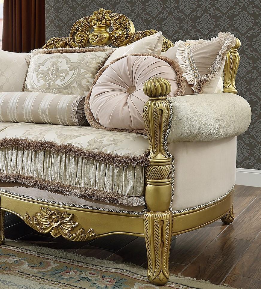 Metallic Bright Gold & Tan Sofa Traditional Homey Design ...