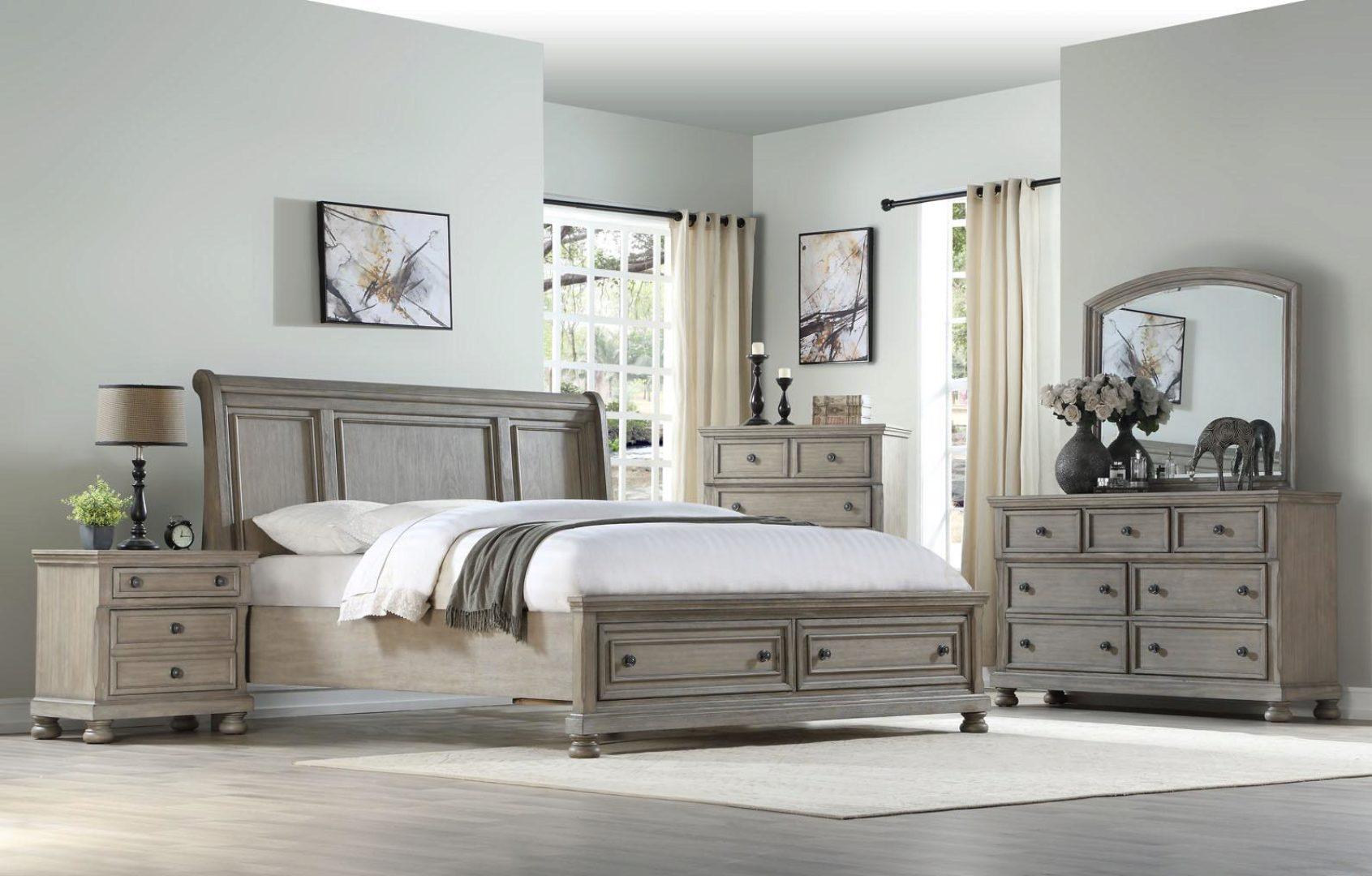 cherry brown prescott 1040 queen bedroom set 4p bernards