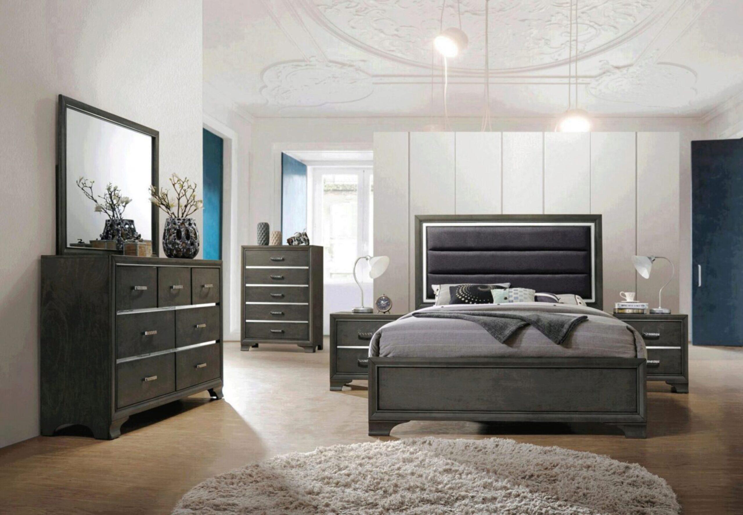 Transitional Charcoal Gray Finish Fabric Queen Bedroom Set 5pcs Carine Ii 26260q Acme 26260q Set 5