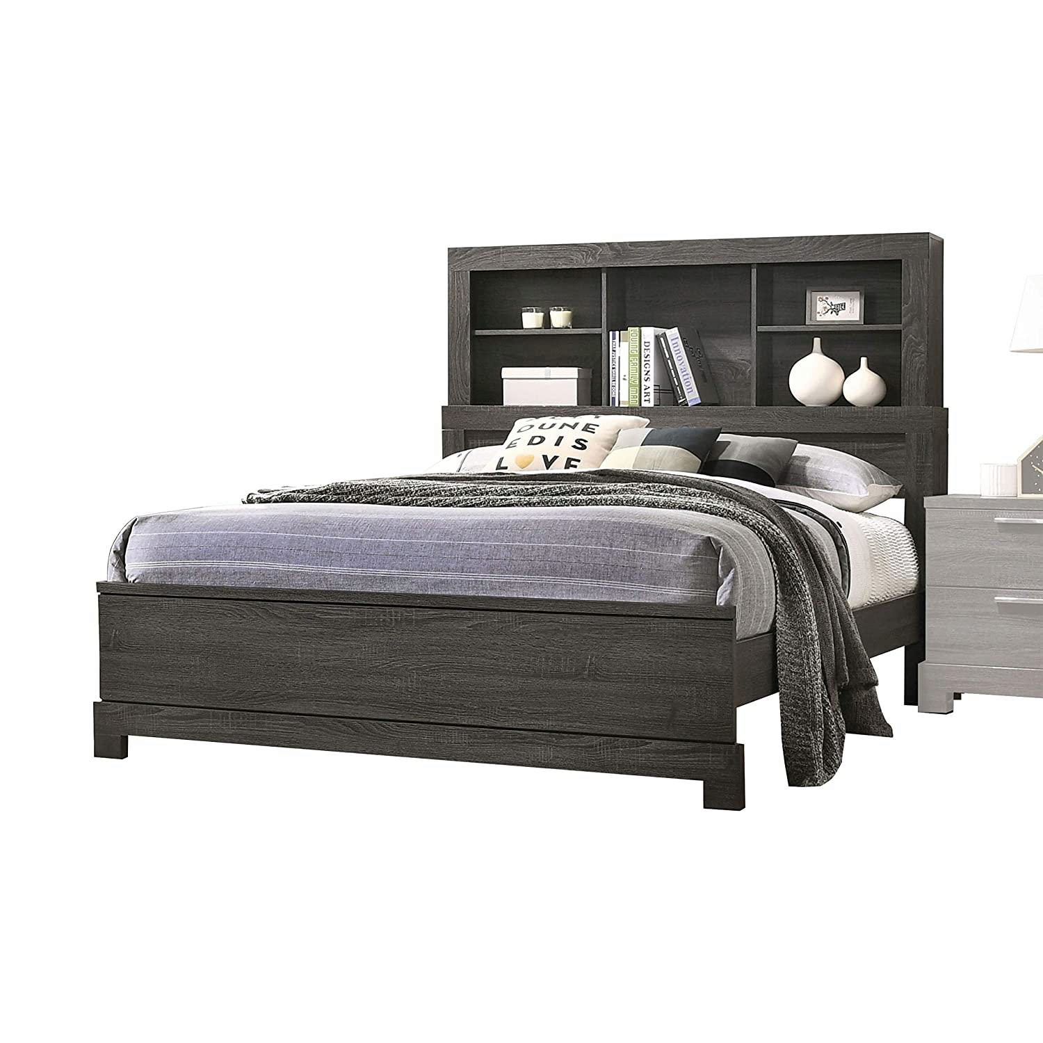 Picture of: Transitional Gray Finish Bookcase Storage Headboard Queen Bed Lantha 22030q Acme 22030q