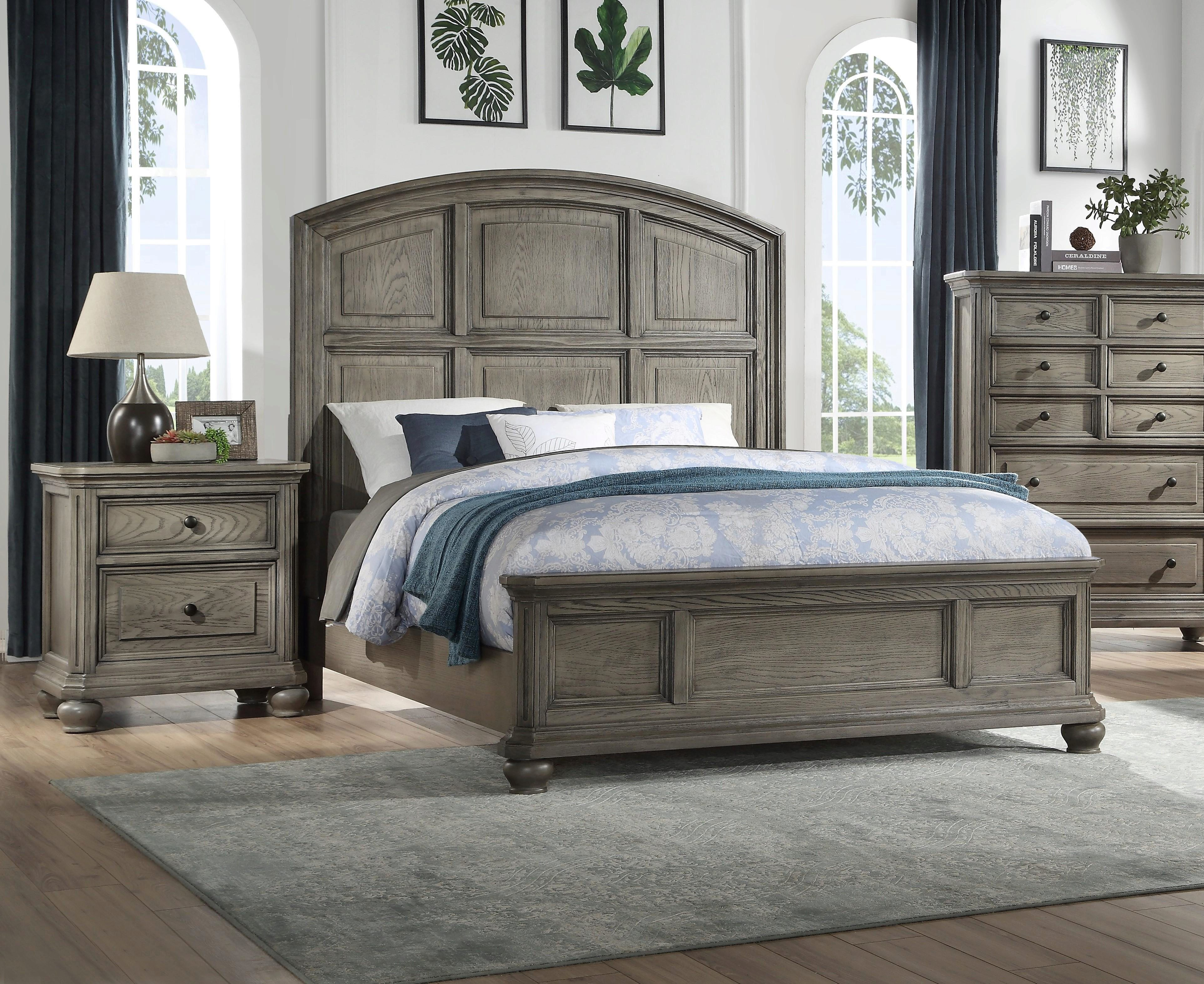 transitional rustic gray oak finish king bedroom set 3pcs