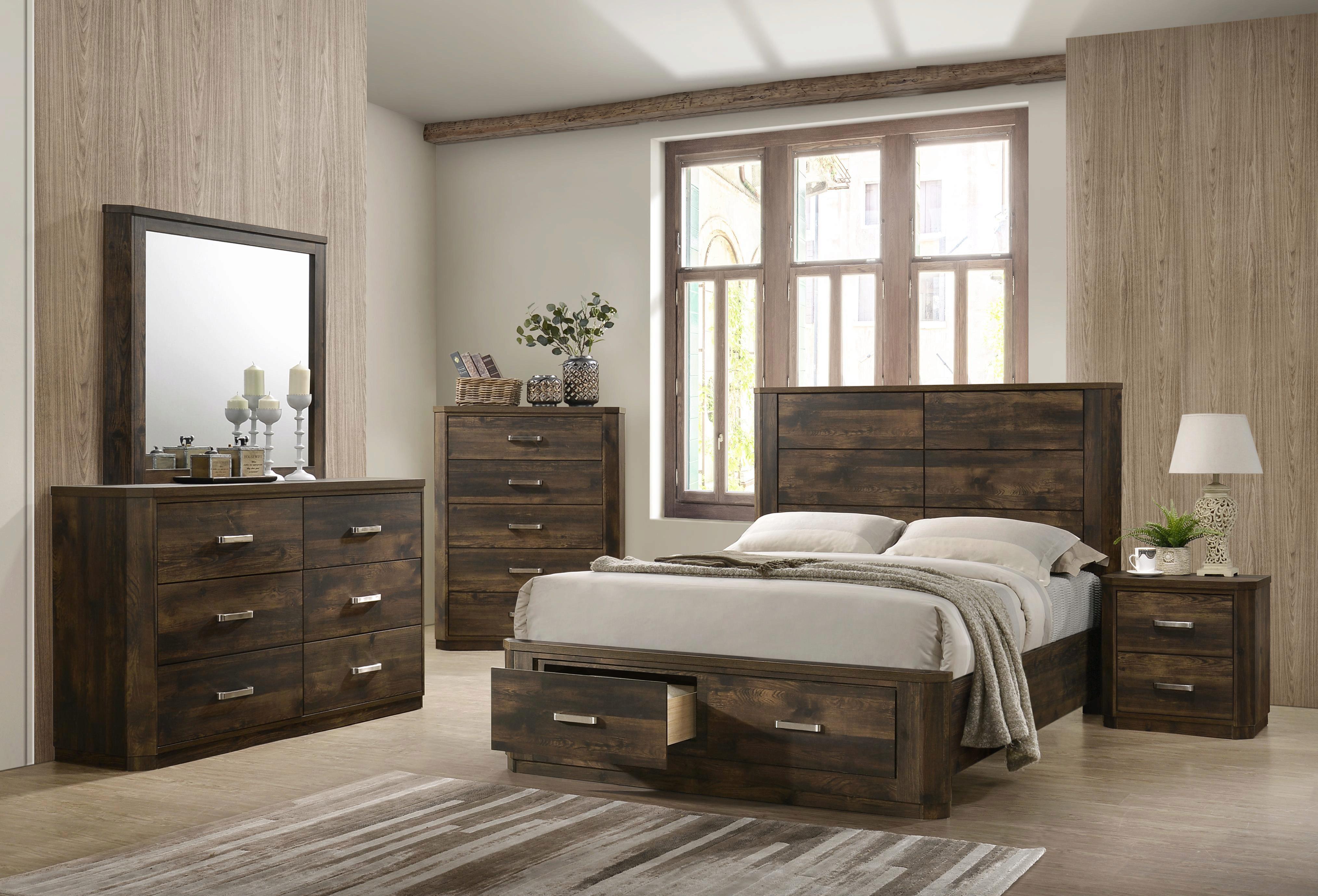 Transitional Rustic Walnut Wood Storage King Bed Elettra 24197ek Acme 24197ek