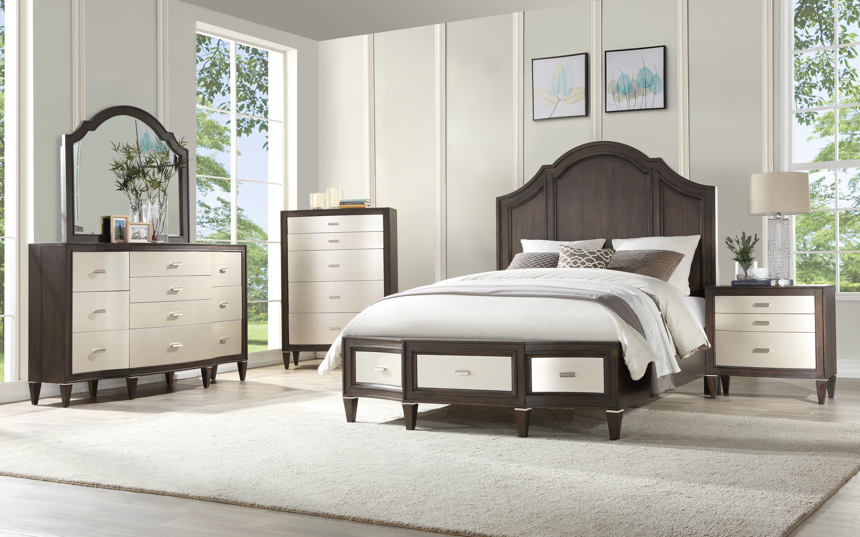 Transitional Walnut Finish Storage King Size Bedroom Set 5pcs Peregrine 27987ek Acme 27987ek Set 5