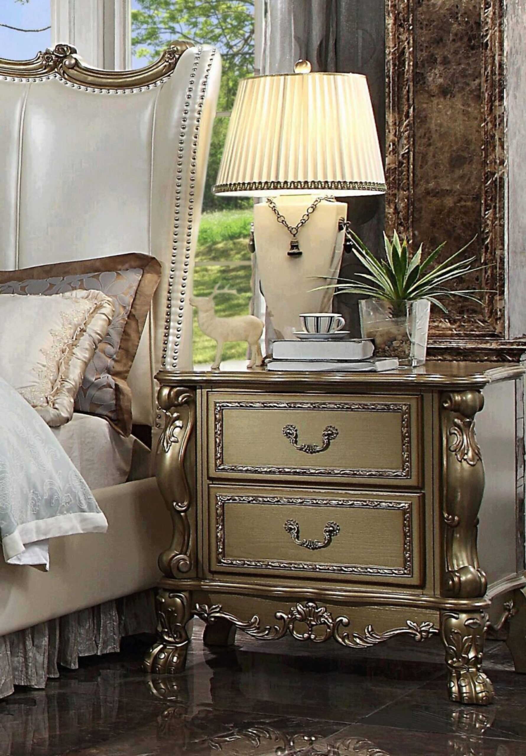 Pearl Gold Patina King Bedroom Set 5 Pcs Dresden Ii 27820ek Acme Traditional Dresden Ii 27817ek