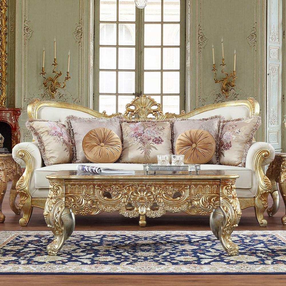 Victorian White Tufted Leather Sofa Set 3 Pcs Traditional ...