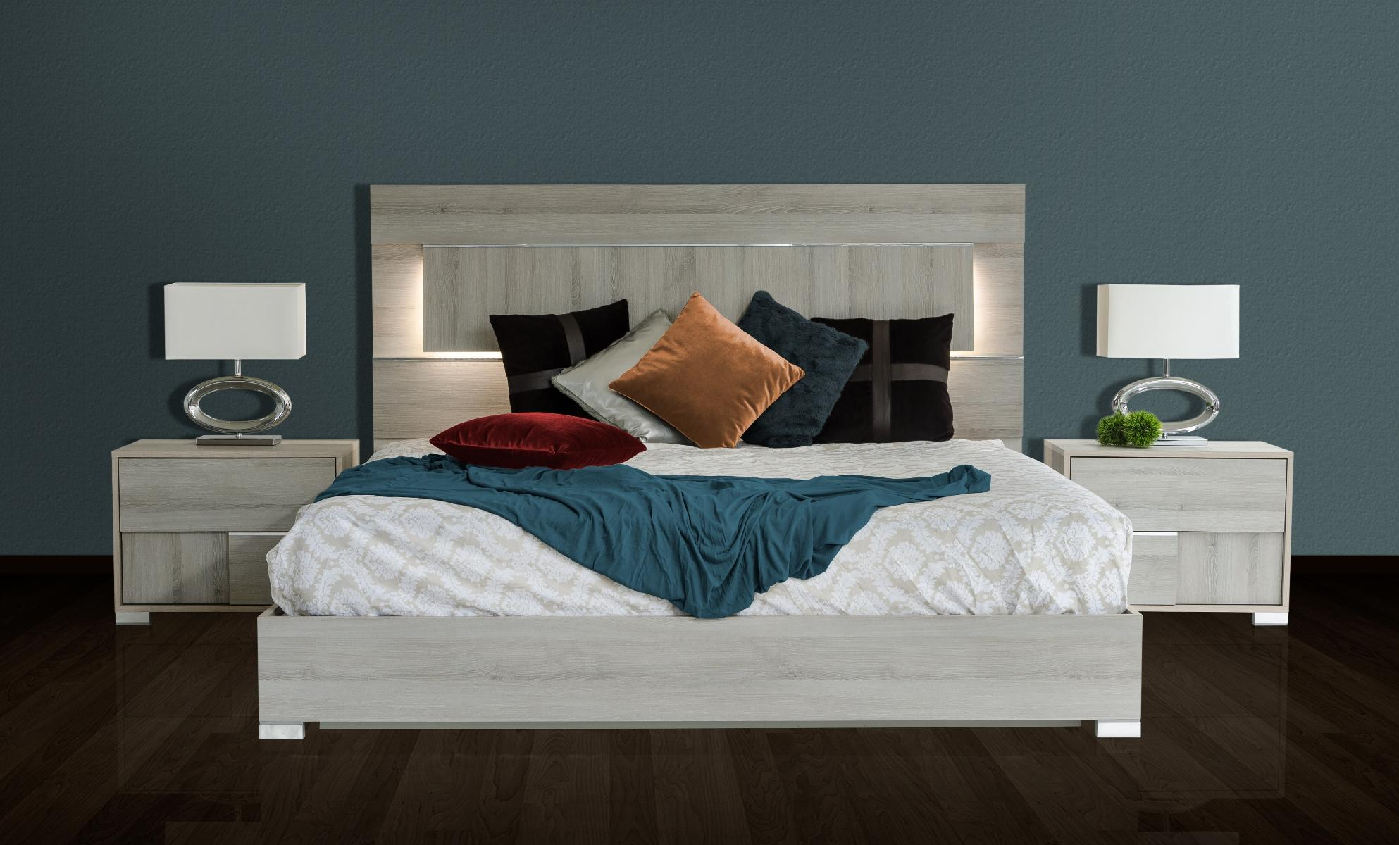 Vig Modrest Ethan Grey Modern Veneer Headboard W Led King Bedroom Set 6p Made In Italy Vgacethan Set Gry Ek 6