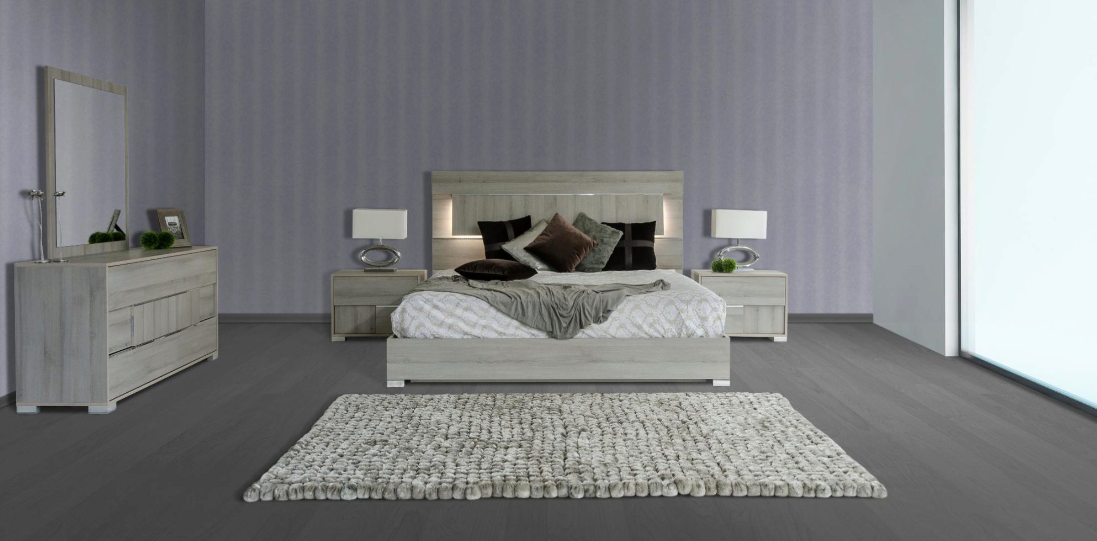 Vig Modrest Ethan Modern Grey Veneer Headboard W Led Queen Bedroom Set 3p Made In Italy Vgacethan Bed Q Set 3