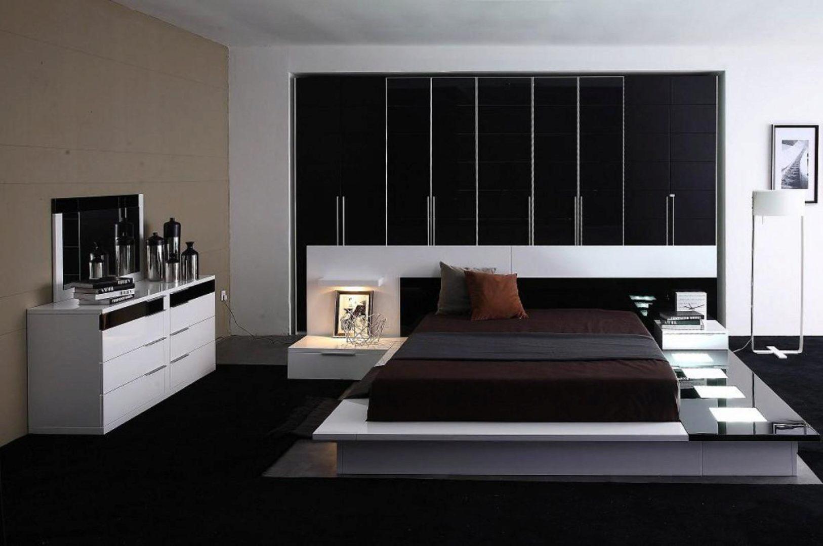 Vig Modrest Impera White Black Glossy Lacquer Queen Platform Bedroom Set 3pcs Vgwcimpera Q Set 3