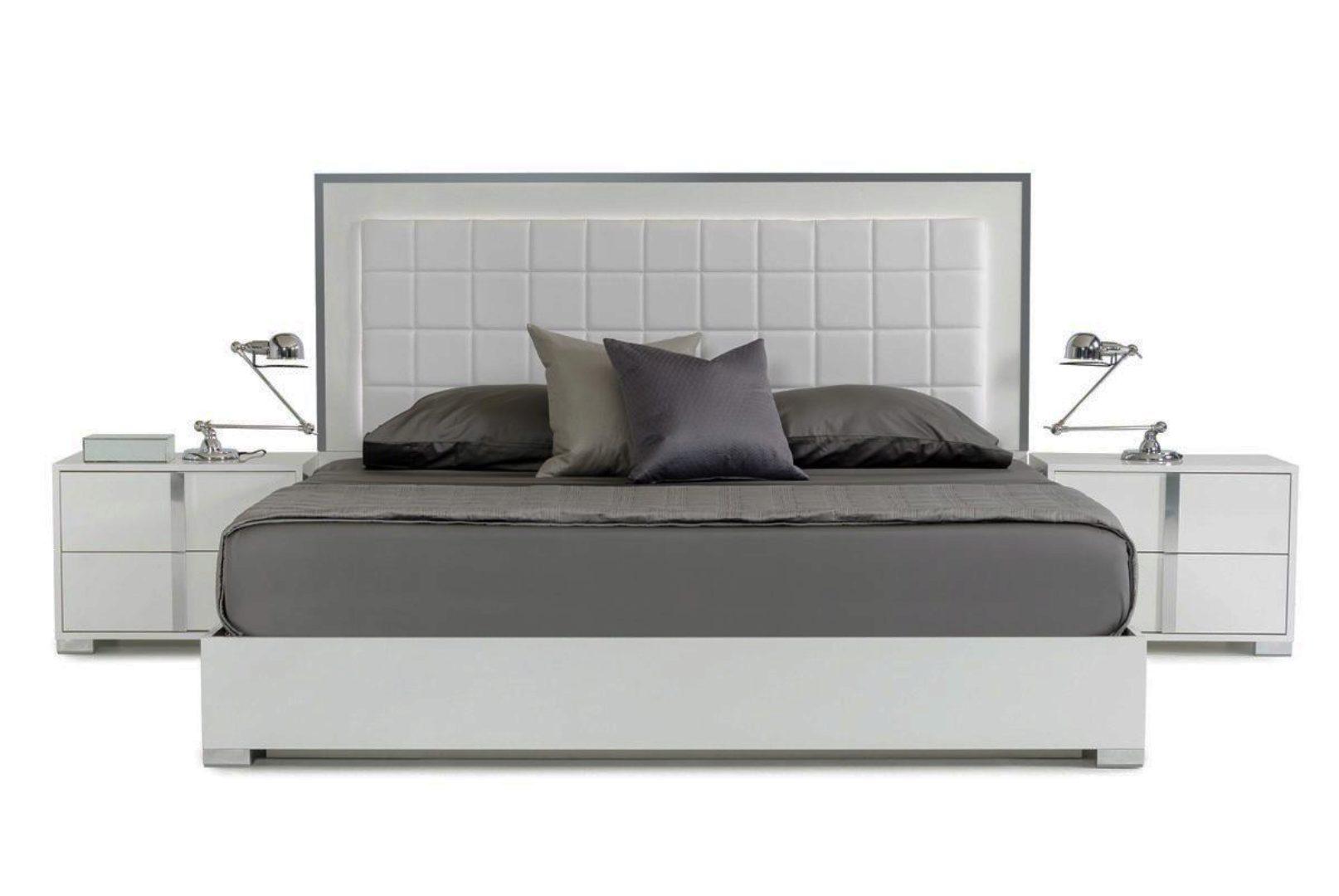 Vig Modrest San Marino Glossy White King Bedroom Set 2pcs