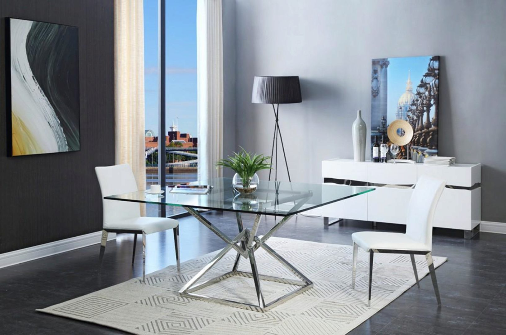 Square Glass Top Dining Table Vig Modrest Xander Modern Contemporary Vgvct833