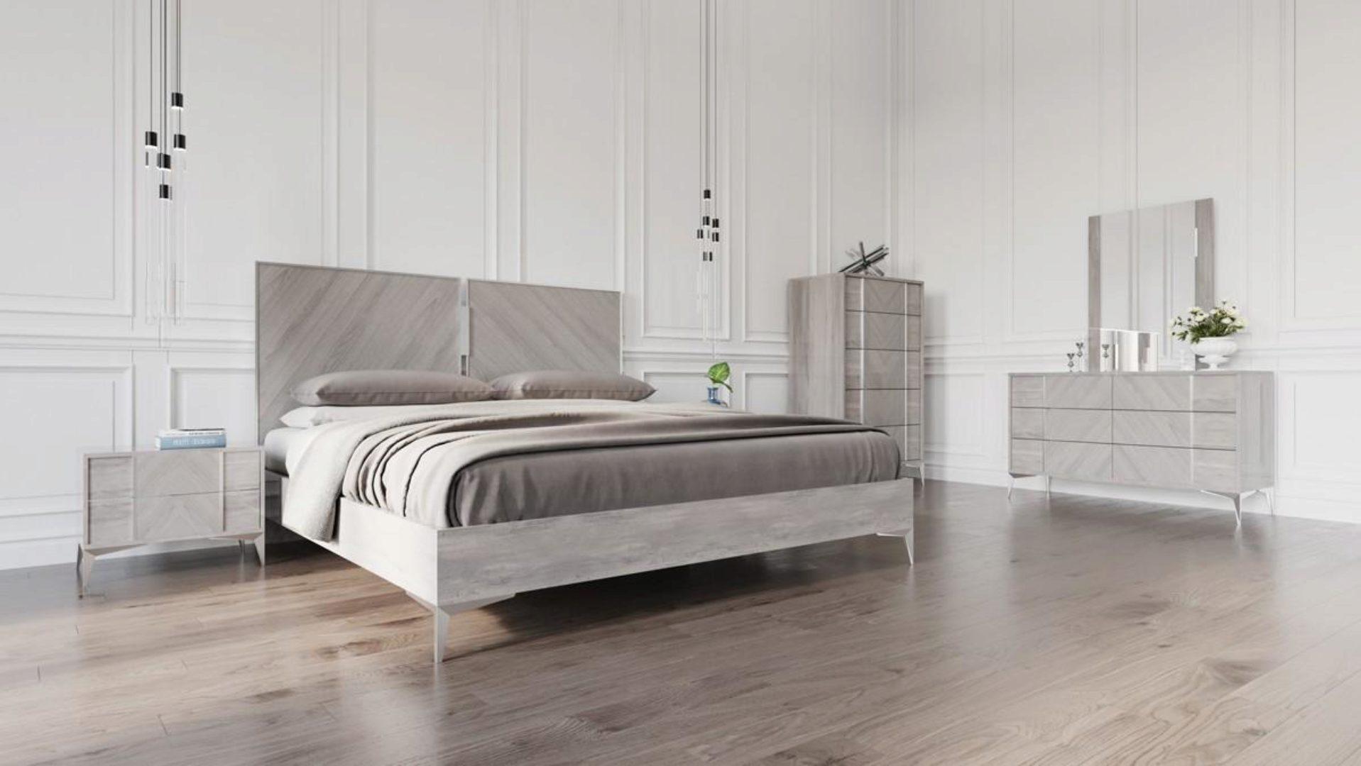 Vig Nova Domus Alexa Premium Italian Grey King Size Bedroom Set 5pcs Modern Vgacalexa Set Ek Set 5