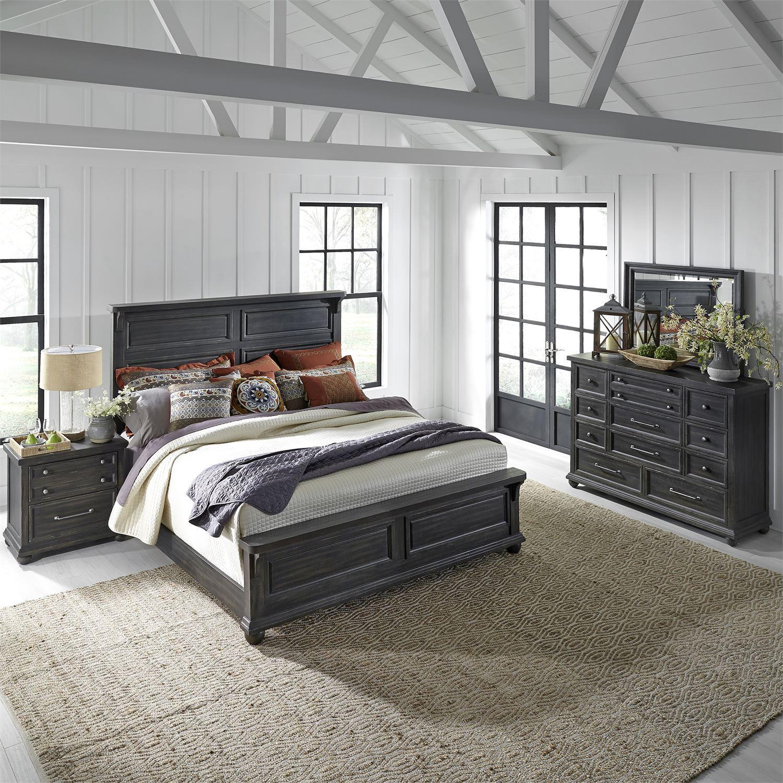 vintage gray wood queen panel bedroom set 4 pcs 879br