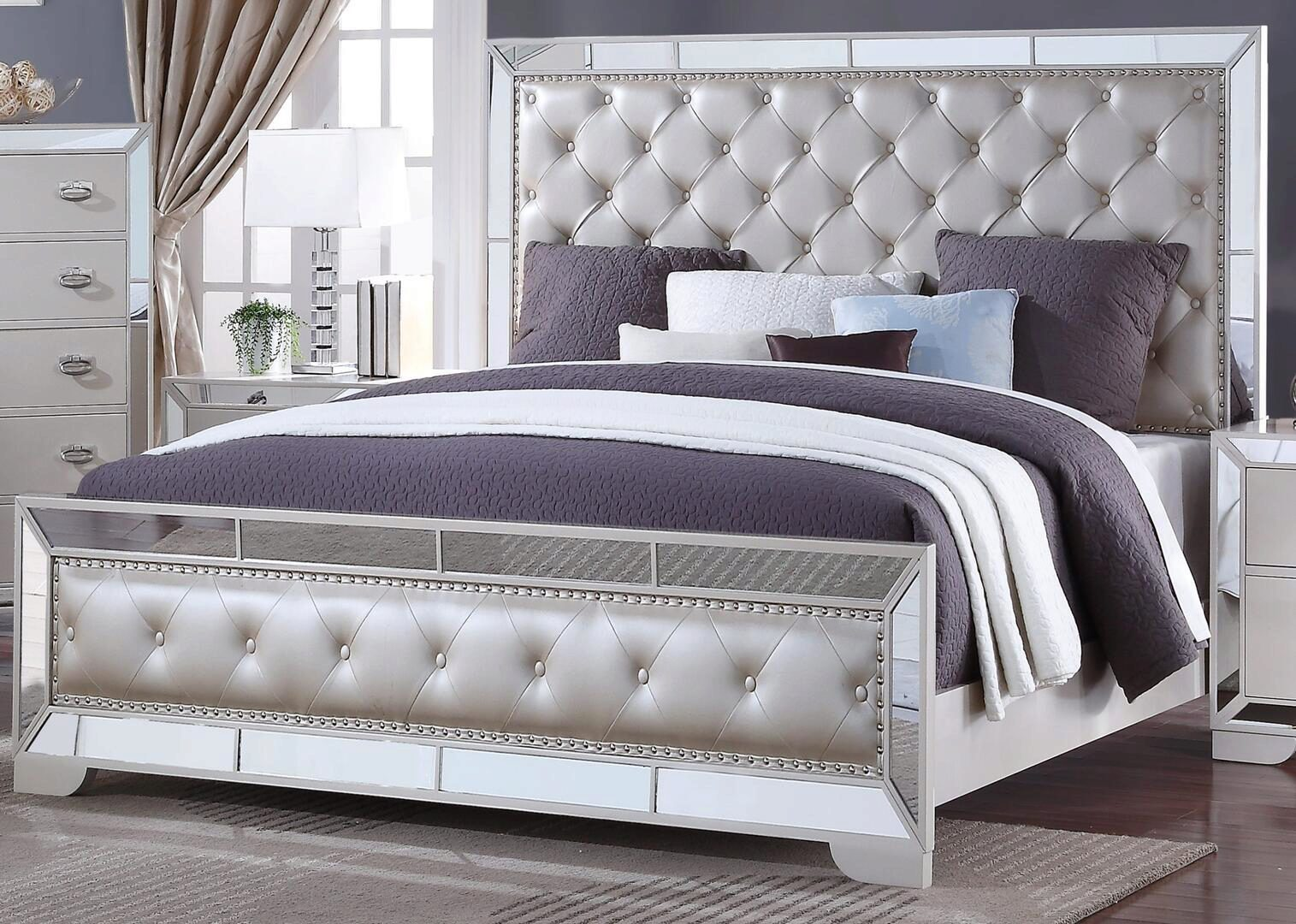 white finish wood queen panel bed contemporary cosmos
