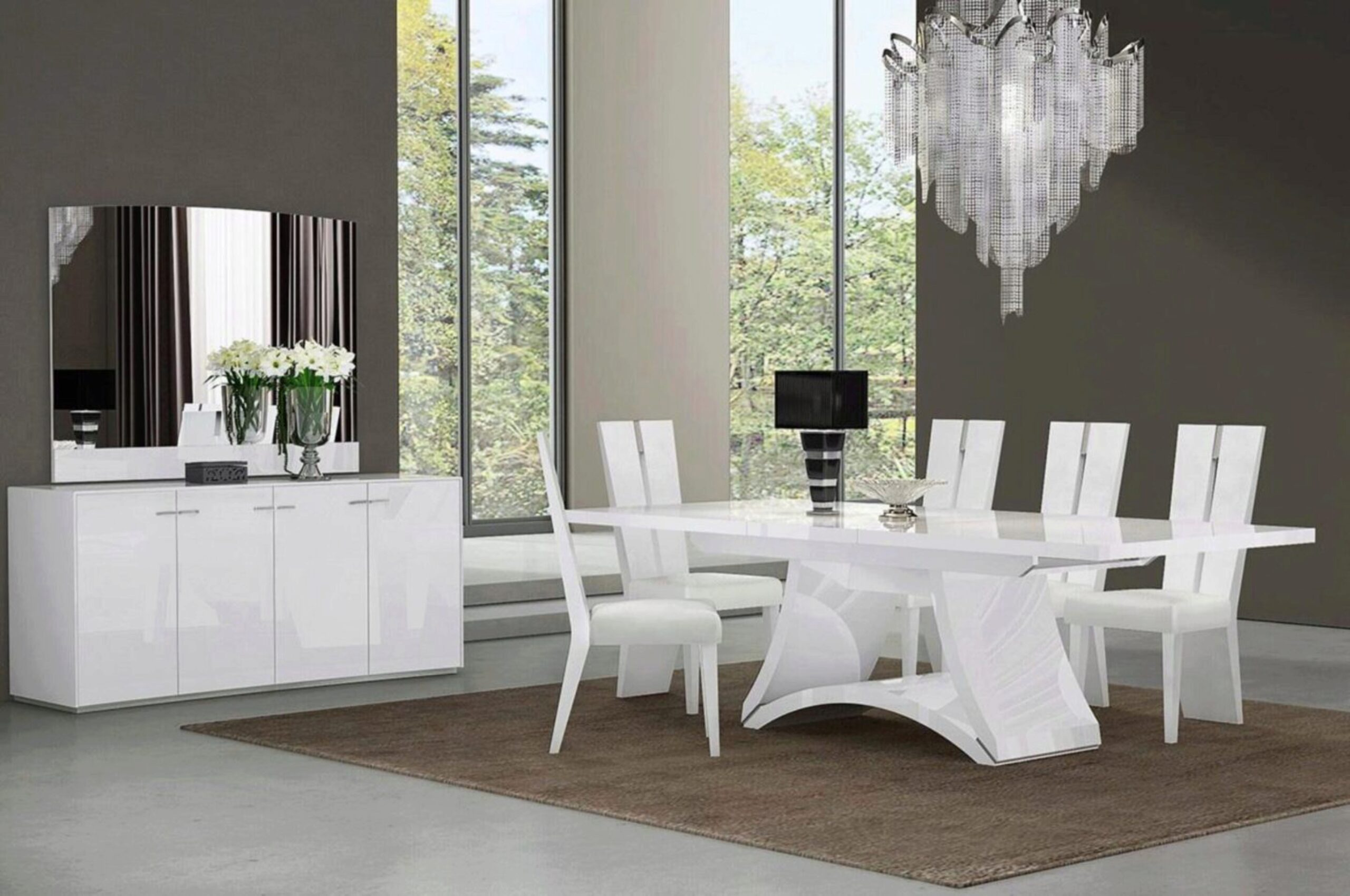 White Lacquer Dining Table Set 7pcs, Modern Contemporary Dining Room Table Set