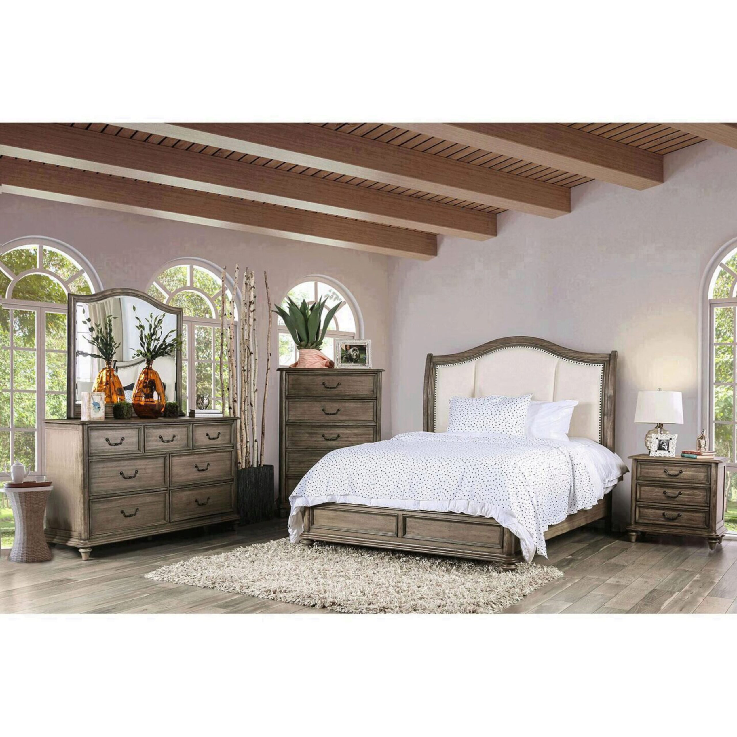 Rustic Fabric Upholstery Queen Bedroom Set 5 W Chest Belgrade Ii Furniture Of America Cm7612q 5pc Chest